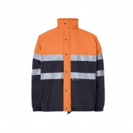Anso Parka Corta Impermeable Acolchada Bicolor Clase Ii Mangas Desmontables Marino Naranja Fluor